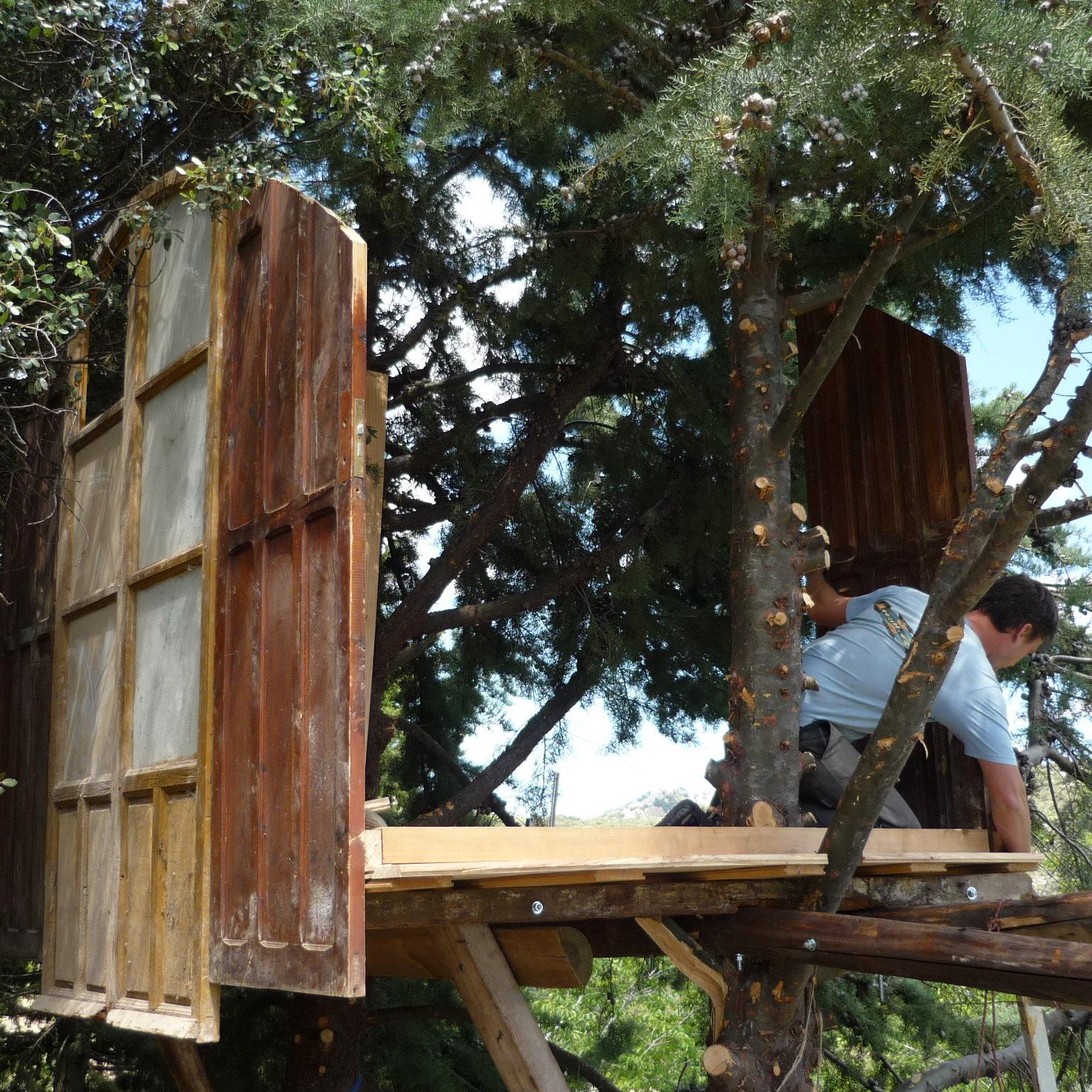 construyendo la cabaña en el arbol de campearte