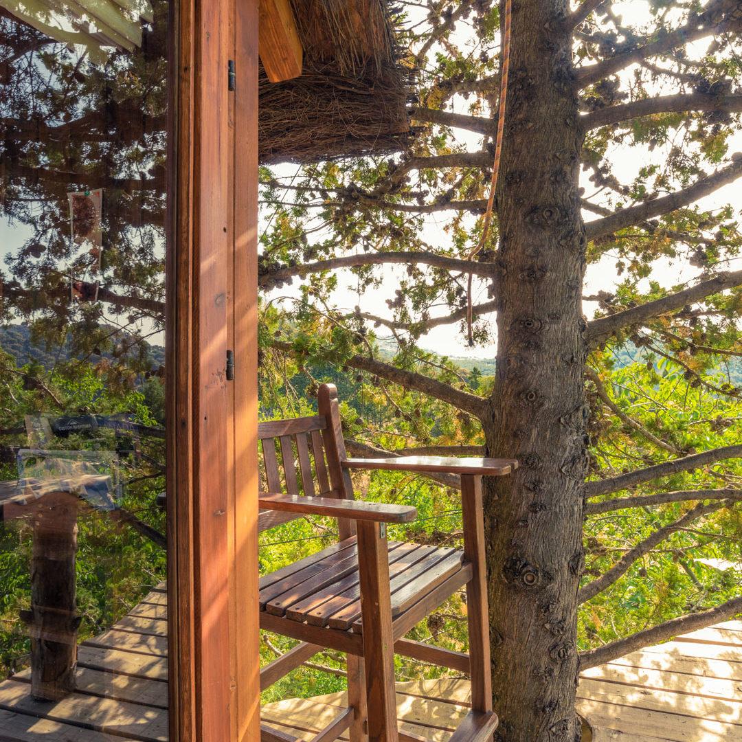 cabaña en arboles terraza biocostruccion prado negro